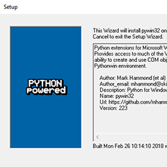 Python for Windows (pywin32) Extensions のインストール 2